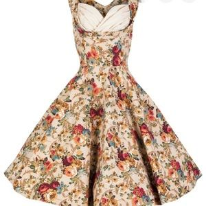 Pinup Retro Floral Fit and Flare Swing Dress Med